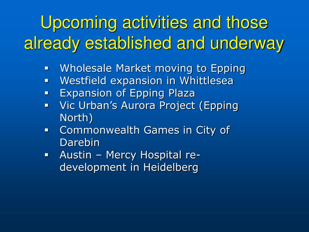 Upcoming activities and those already established and underway