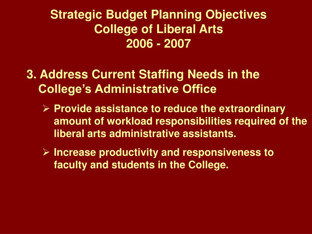 Strategic Budget Planning Objectives