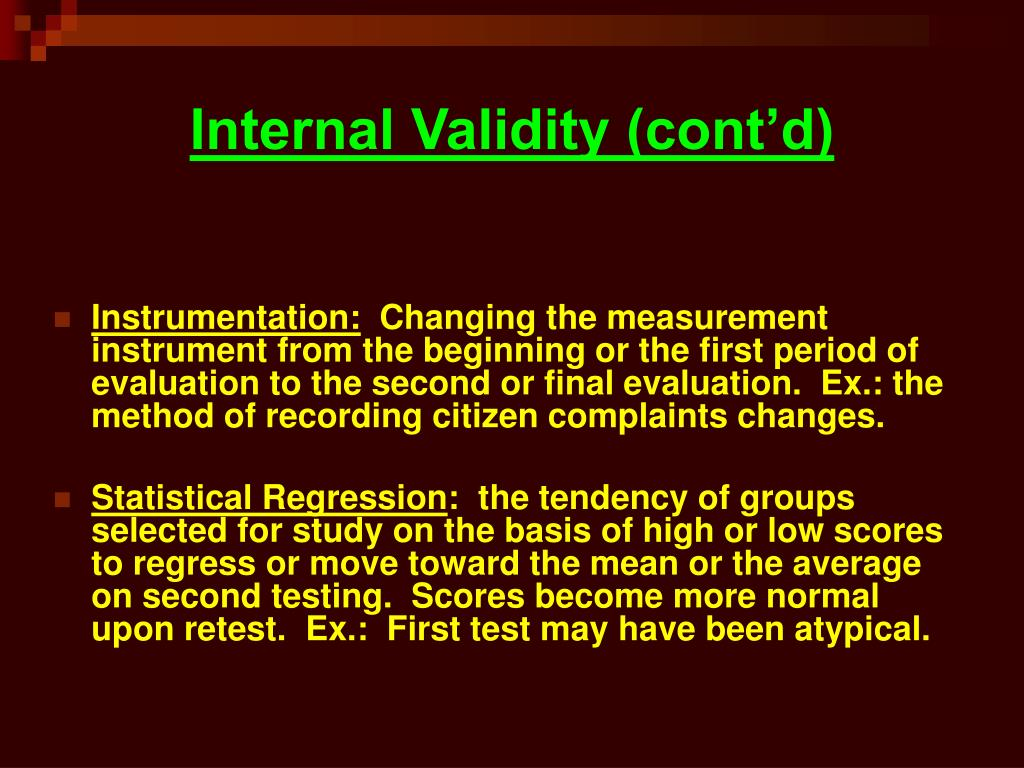 Internal Validity (cont'd)