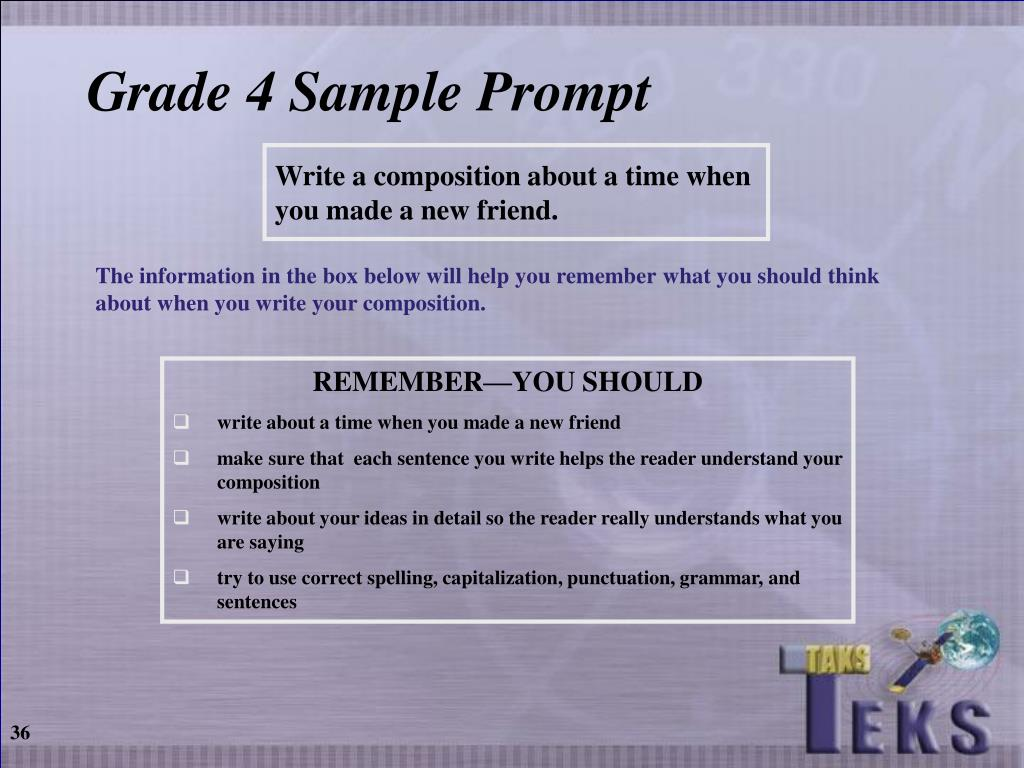 Grade 4 Sample Prompt