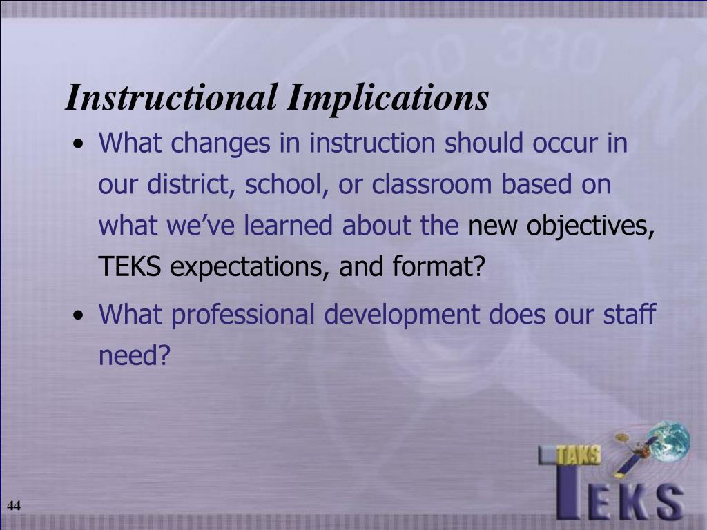 Instructional Implications