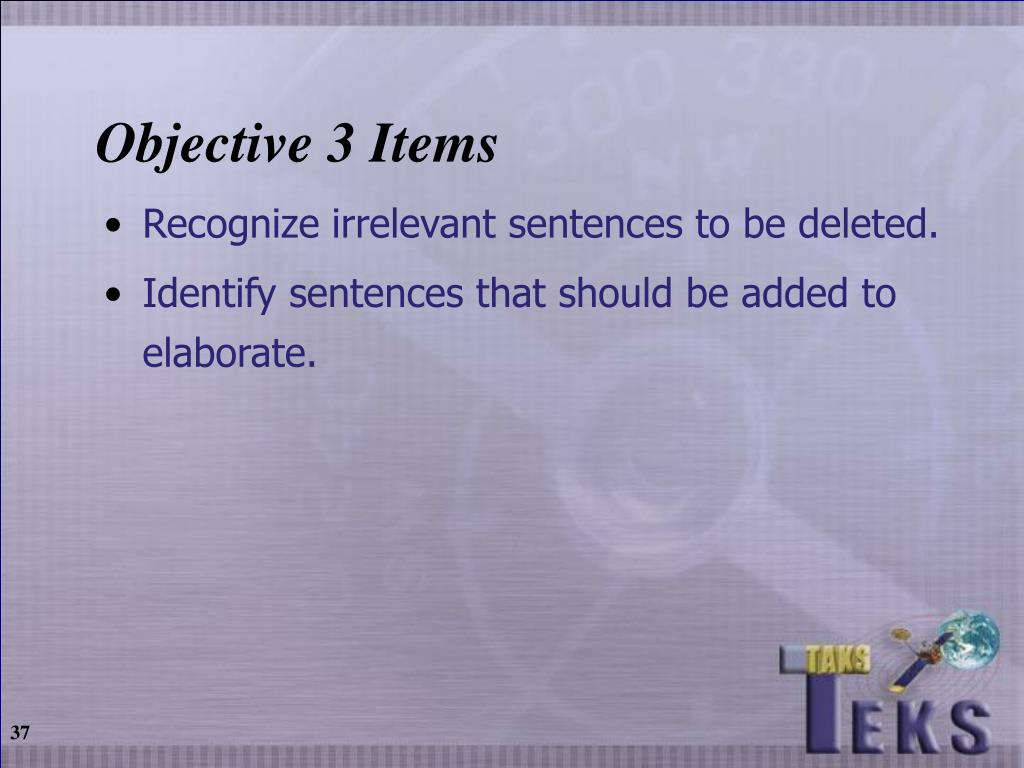 Objective 3 Items