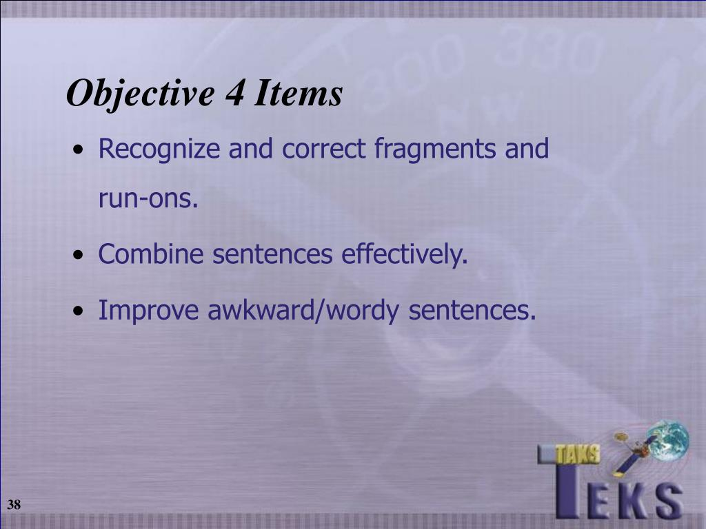 Objective 4 Items