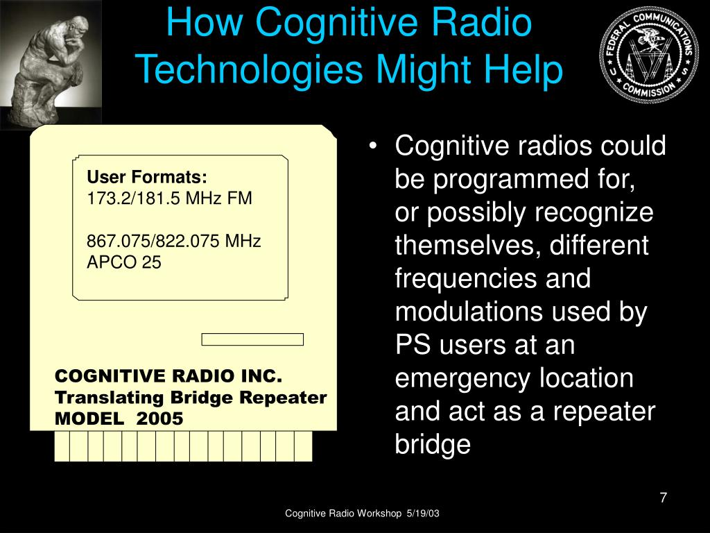 Cognitive radios could be programmed for, or possibly recognize themselves, different frequencies and modulations used by PS users at an emergency location and act as a repeater bridge