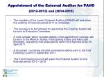 appointment of the external auditor for paho 2012 2013 and 2014 2015