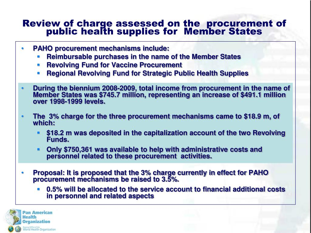 PAHO procurement mechanisms include: