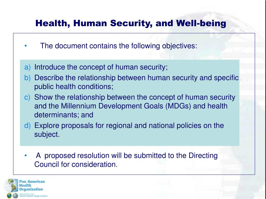 Health, Human Security, and Well-being