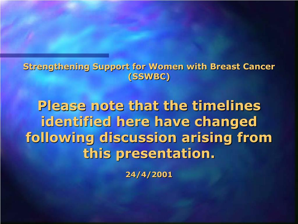 Strengthening Support for Women with Breast Cancer (SSWBC)