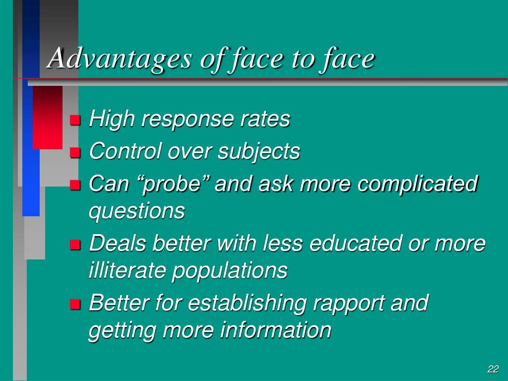 Advantages of face to face