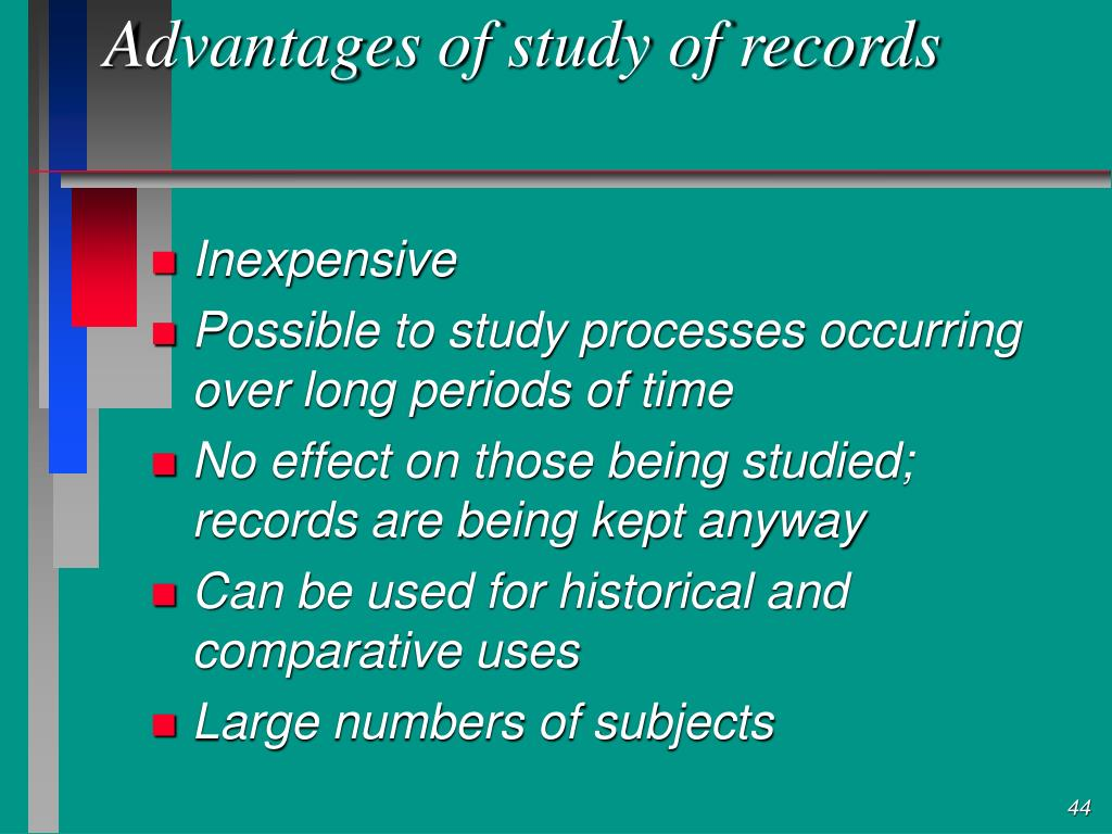Advantages of study of records