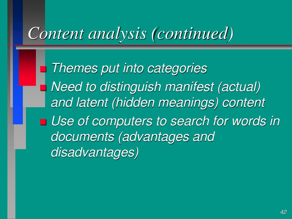 Content analysis (continued)