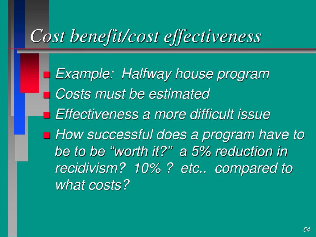 Cost benefit/cost effectiveness