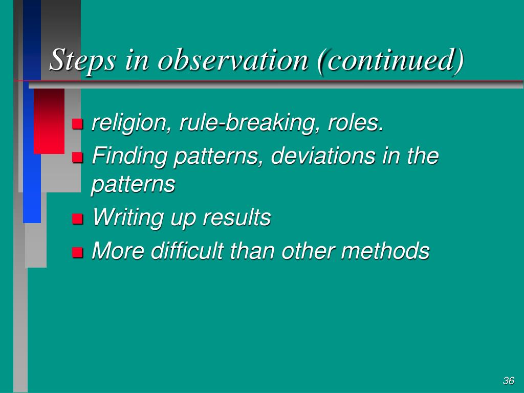 Steps in observation (continued)