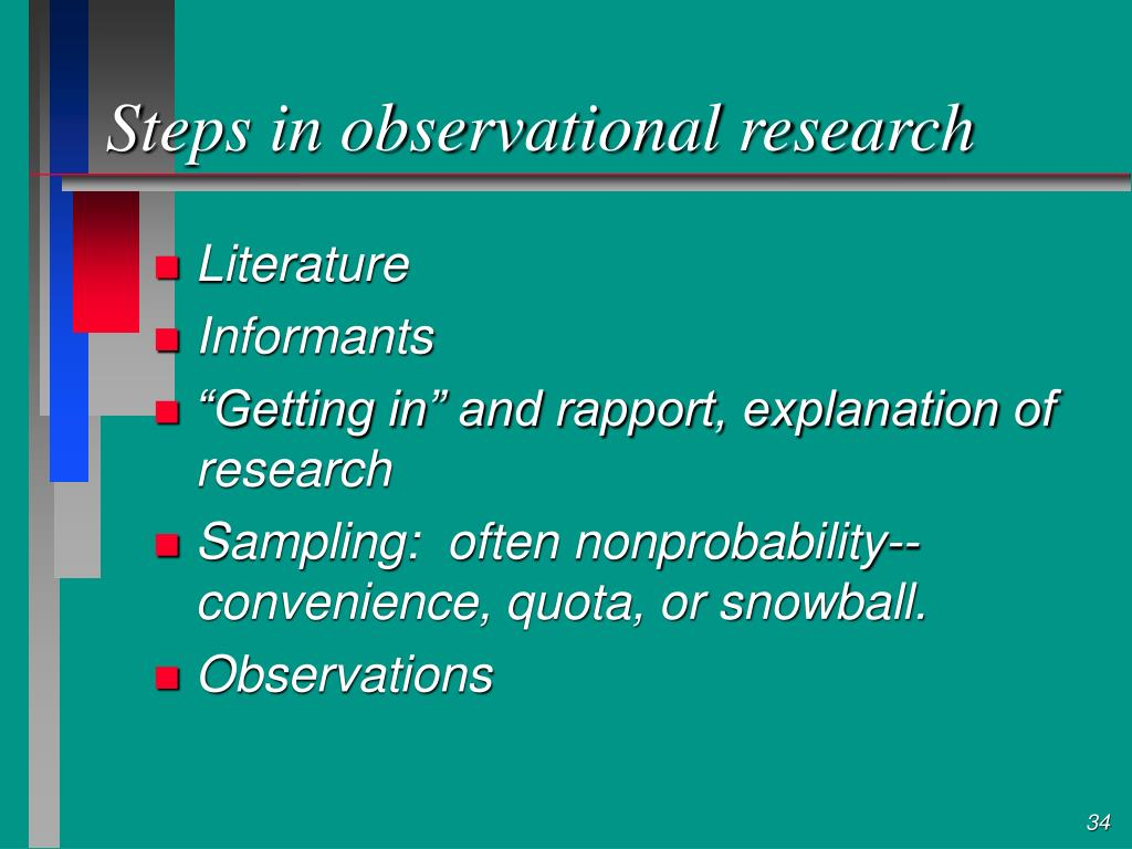 Steps in observational research