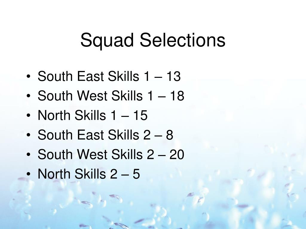 Squad Selections