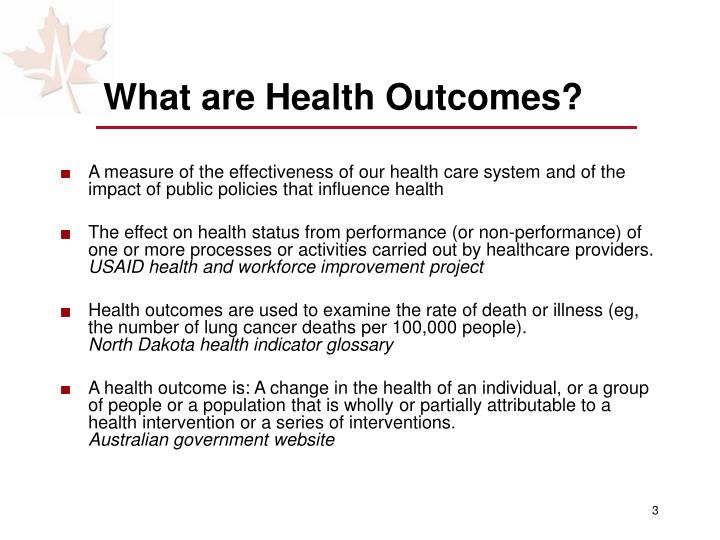 What are health outcomes