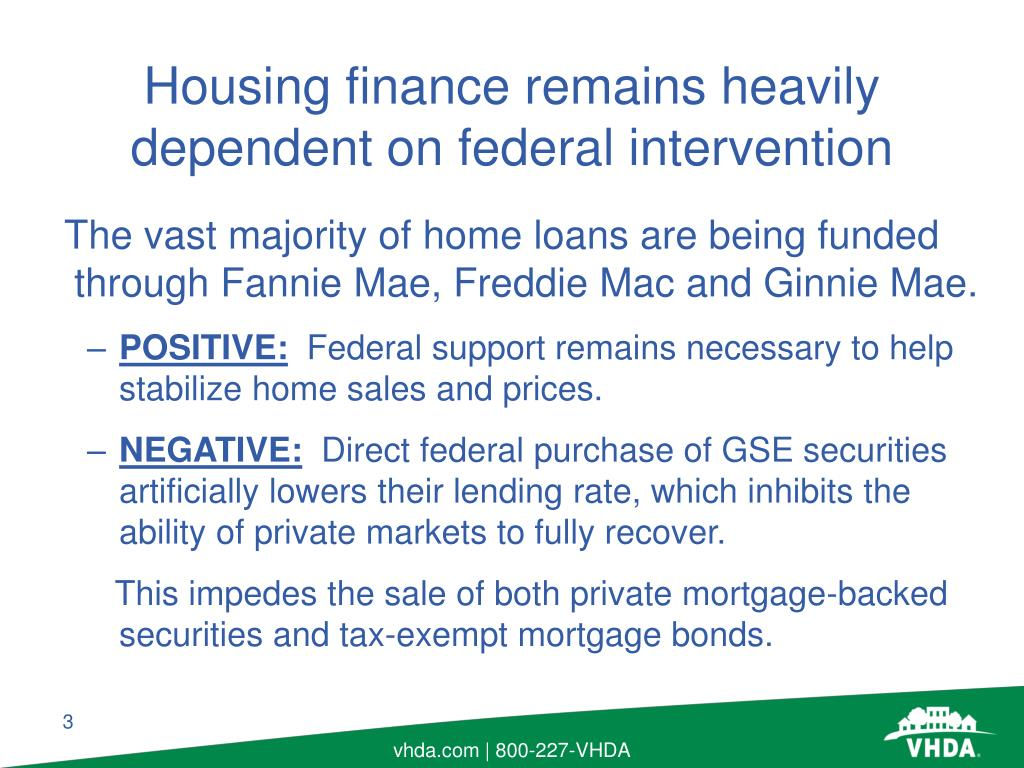 The vast majority of home loans are being funded through Fannie Mae, Freddie Mac and Ginnie Mae.