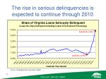 the rise in serious delinquencies is expected to continue through 2010