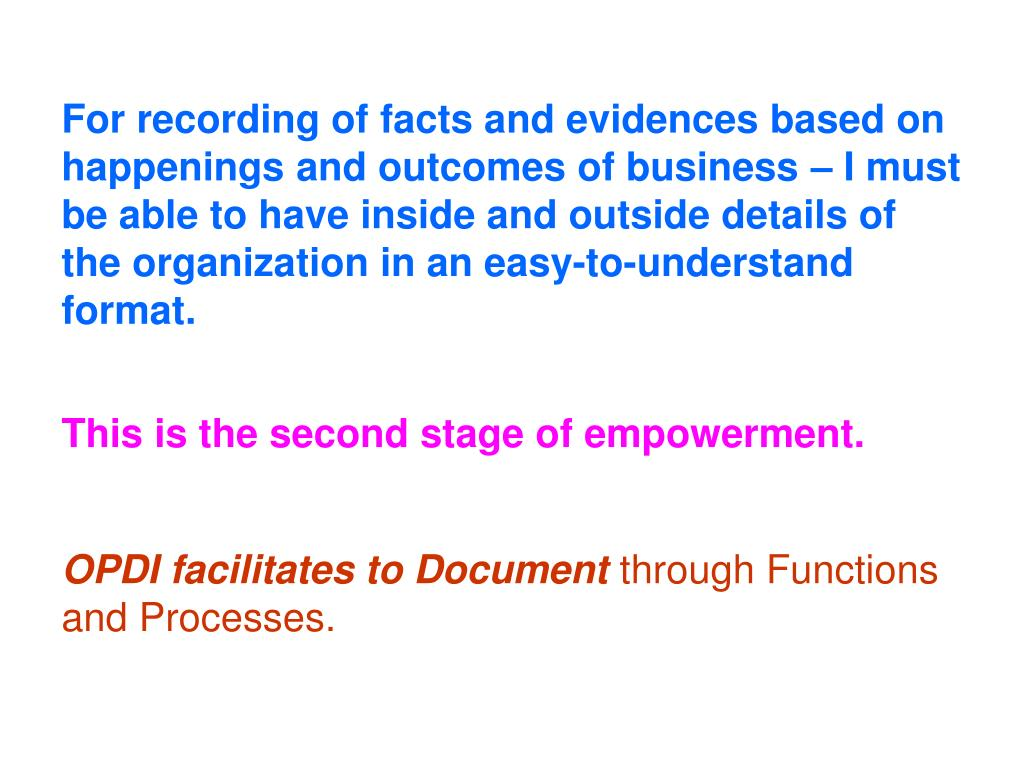 For recording of facts and evidences based on happenings and outcomes of business – I must be able to have inside and outside details of the organization in an easy-to-understand format.