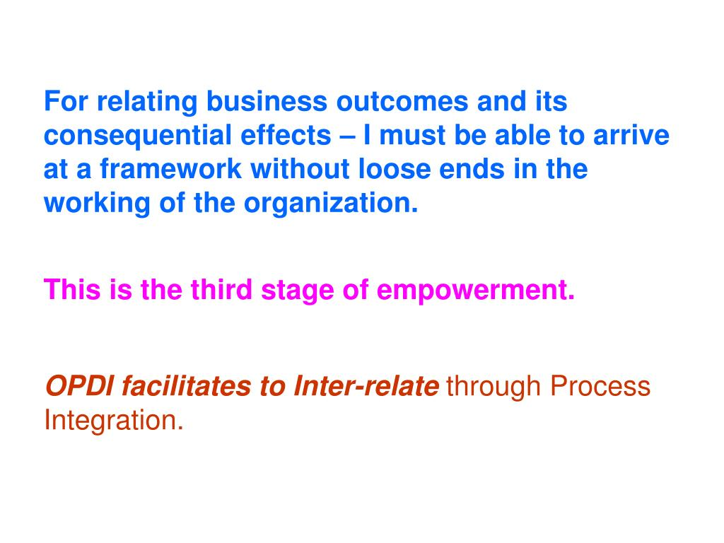 For relating business outcomes and its consequential effects – I must be able to arrive at a framework without loose ends in the working of the organization.