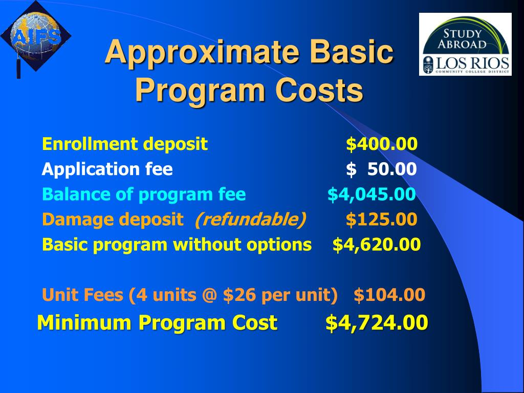 Approximate Basic Program Costs