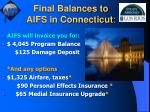 final balances to aifs in connecticut