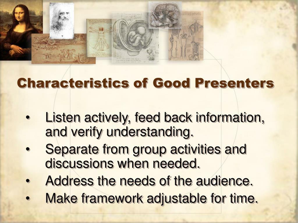 Characteristics of Good Presenters