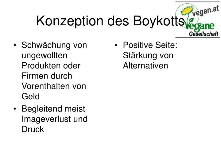 Konzeption des boykotts