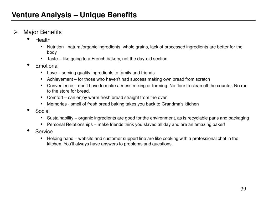 Venture Analysis – Unique Benefits