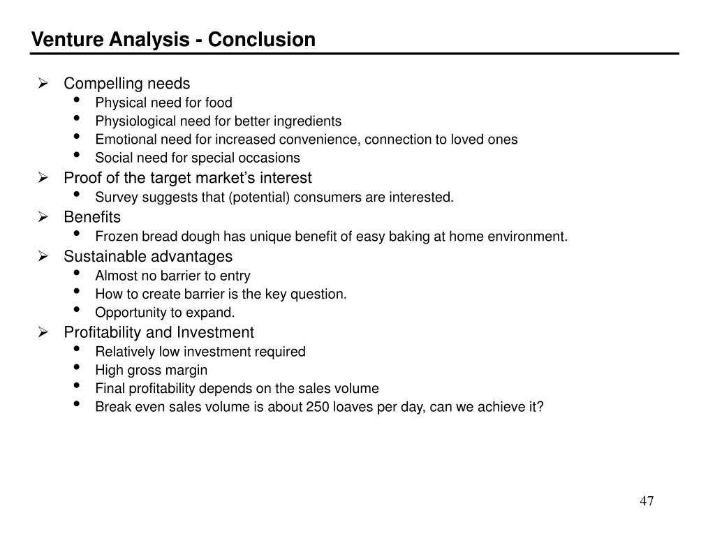 Venture Analysis - Conclusion