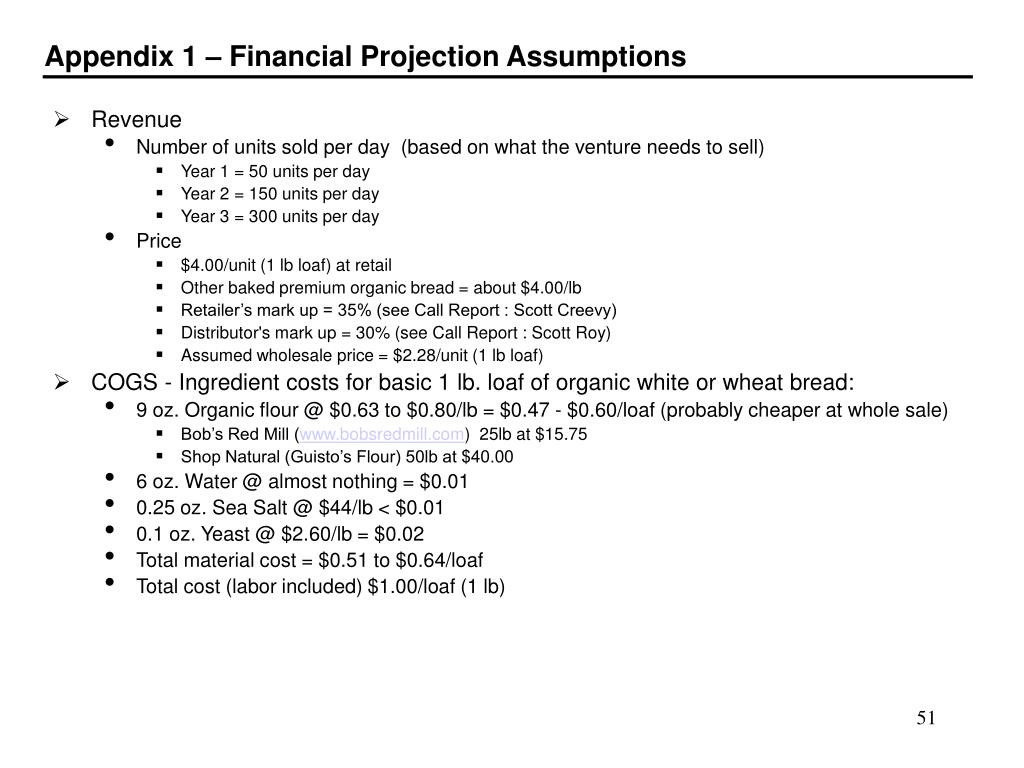 Appendix 1 – Financial Projection Assumptions