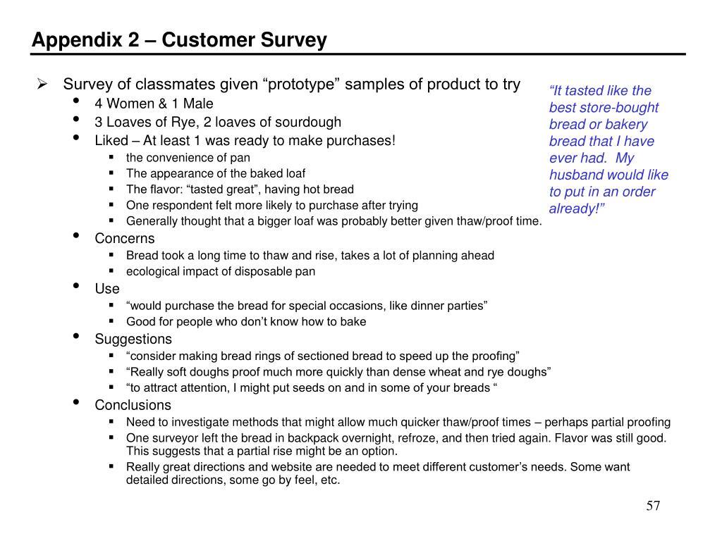 Appendix 2 – Customer Survey