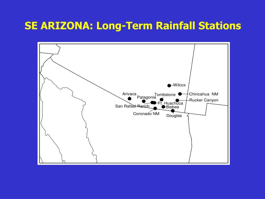 SE ARIZONA: Long-Term Rainfall Stations
