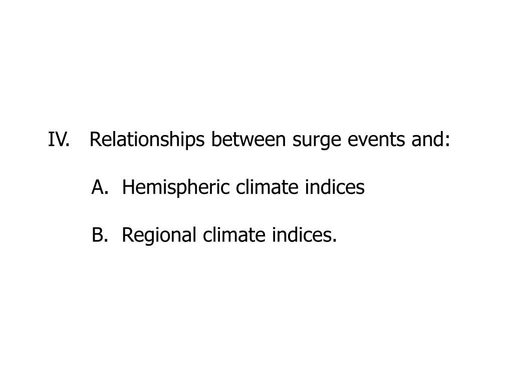 IV.   Relationships between surge events and: