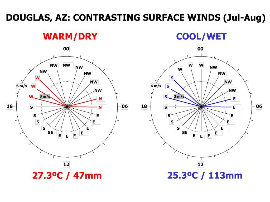 DOUGLAS, AZ: CONTRASTING SURFACE WINDS (Jul-Aug)