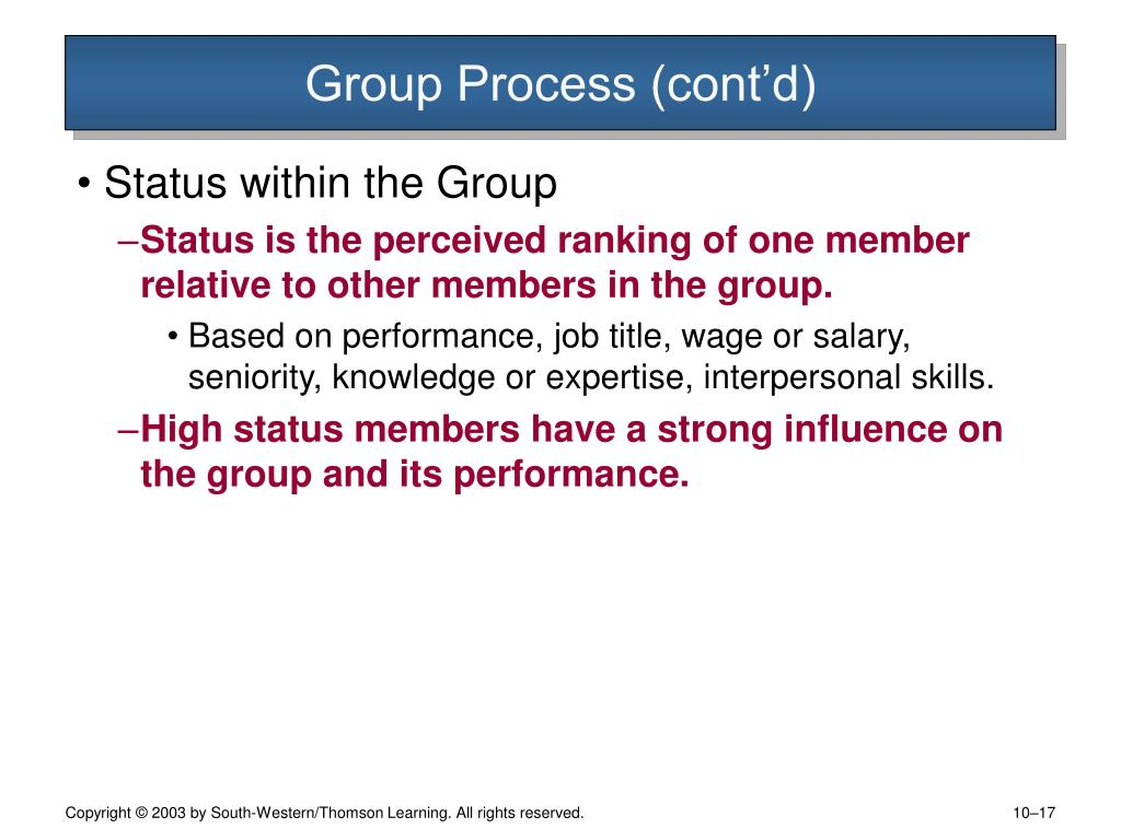 Group Process (cont'd)
