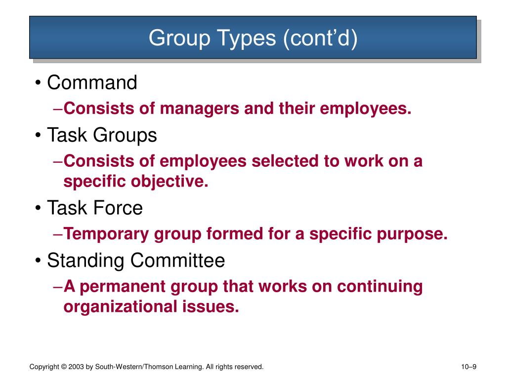 Group Types (cont'd)