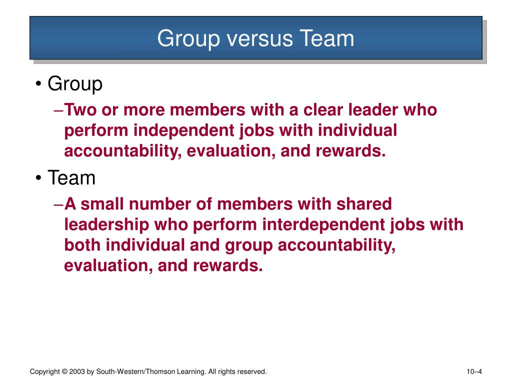 Group versus Team
