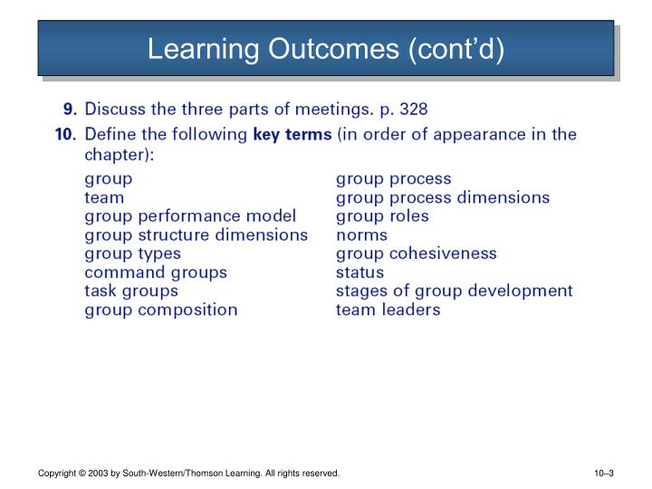 Learning outcomes cont d