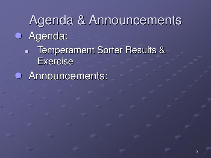 Agenda announcements