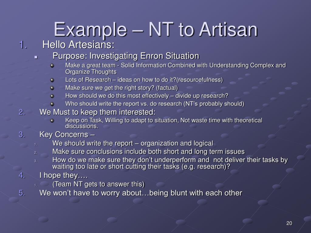 Example – NT to Artisan