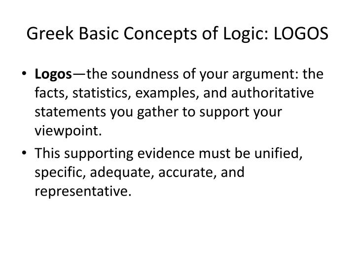 Greek Basic Concepts of Logic: LOGOS