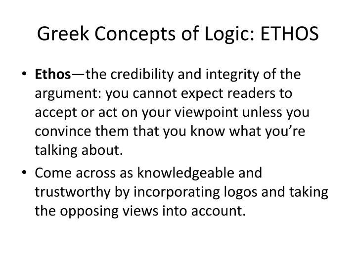 Greek Concepts of Logic: ETHOS
