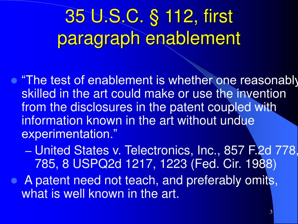 35 U.S.C. § 112, first paragraph enablement