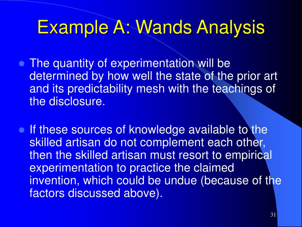 Example A: Wands Analysis