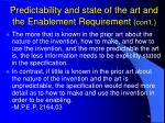 predictability and state of the art and the enablement requirement con t