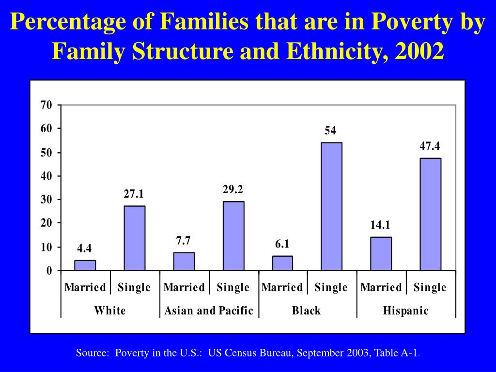 Percentage of Families that are in Poverty by Family Structure and Ethnicity, 2002