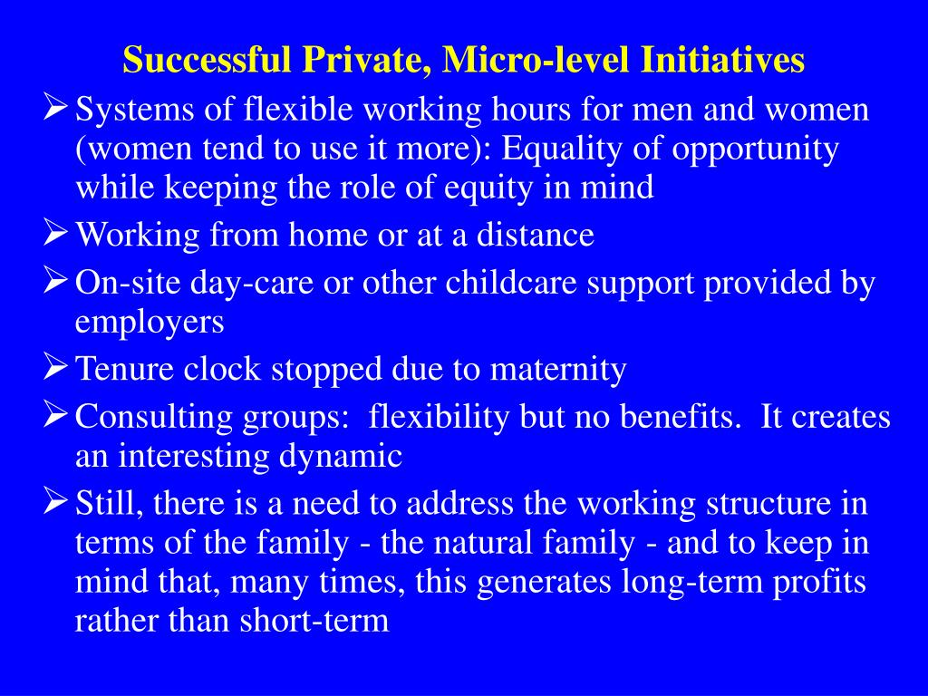 Successful Private, Micro-level Initiatives