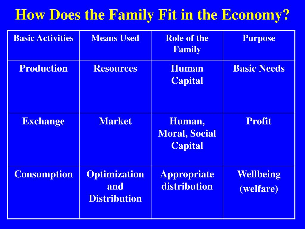 How Does the Family Fit in the Economy?