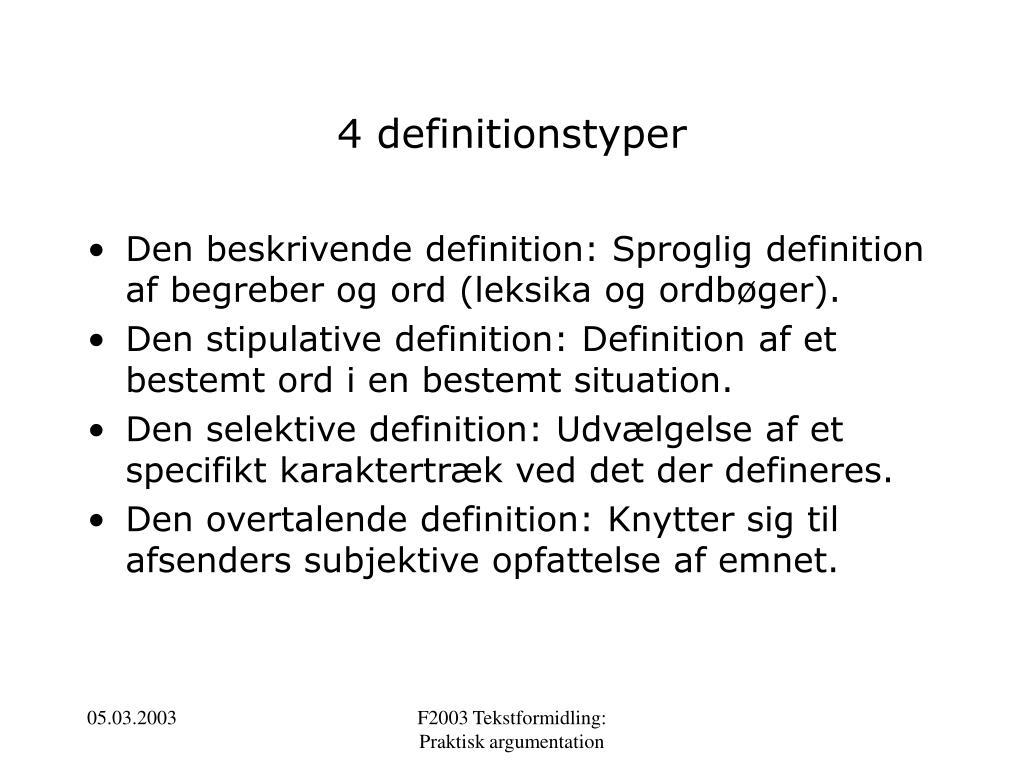 4 definitionstyper